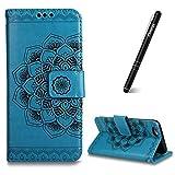 Slynmax Coque iPhone 5S Wallet,Housse pour iPhone 5,PU Cuir [Fleurs Datura] en...