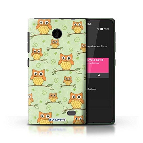 Kobalt® Imprimé Etui / Coque pour Nokia X / Rose/blanc conception / Série Motif Hibou Orange/Vert