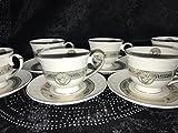 Medusa Service Kaffee Kombiservice für 6 Personen Tassen Geschirr Tafel Set Porzellan Gold mit Styl NEUHEIT Sehr EDEL Mäander