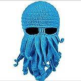 TiaoBug Déguisement Bonnet Hiver Unique Forme Pieuvre Bleu Taille unique