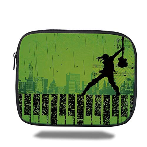 Tablet Bag for Ipad air 2/3/4/mini 9.7 inch,Popstar Party,Music in The City Theme Singer with Electric Guitar on Grunge Backdrop,Lime Green Black - Guitar Popstar