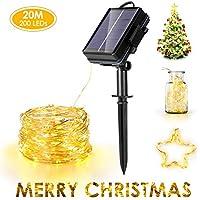 Cadena Luces Solares, Haofy Guirnalda Luces Solares Exterior 20M 200 LED Blanco Cálido, 8 Modos de Luz, IP67 Impermeable, Decoración para DIY Navidad, Fiestas, Bodas, Jardín [Clase de eficiencia A+]