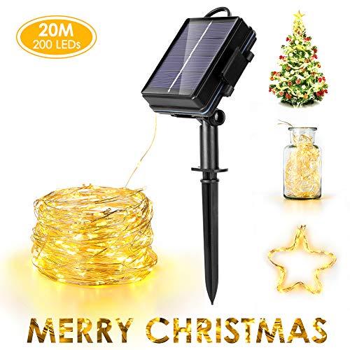 Haofy Solar Fairy String Lights, 20 m 200 LED con batteria, 8 luci a filo per decorazioni interne fai-da-te, bianco caldo, creando atmosfera
