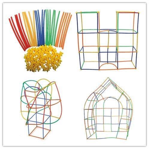 Mastop Toys Straw Constructor Interlocking Plastic Enginnering Toys-Colorful Building Toys Fun Educational Safe For Kids Develops Motor Skills &Construction Blocks