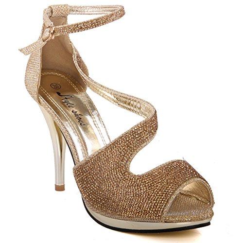 Unze Femmes de Kiaza 'Fancy Prom Sandals Or