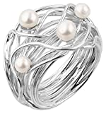 Nenalina Damen Ring Perlenring besetzt mit 2 Süsswasserperlen 4 mm und 2 Süsswasserperlen 5 mm in weiß, handgearbeitet aus 925 Sterling Silber, Gr. 54-721058-042-54