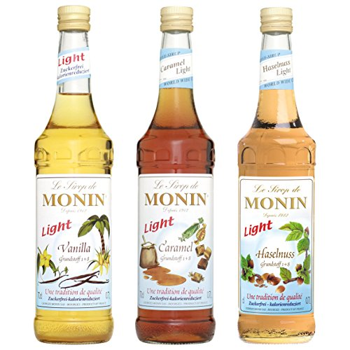 Monin Light Set (3 x 0.7l Flaschen: Vanille Light, Caramel Light, Haselnuss Light)