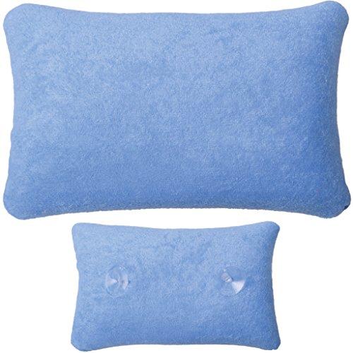 Arsvita Badewannen-Kissen mit Saugnäpfen, weicher Bezug in vielen Farben und Größen, Komfort Badekissen (Größe: 18 x 28cm - Basic Ausführung in der Farbe: hellblau)