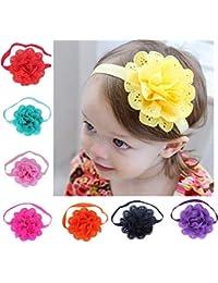 Saingace 8 Pcs Set Newborn Baby Girls Flower Hair Band Soft Cute Turban Head Wraps Headband Hair Accessories for Toddlers Girls