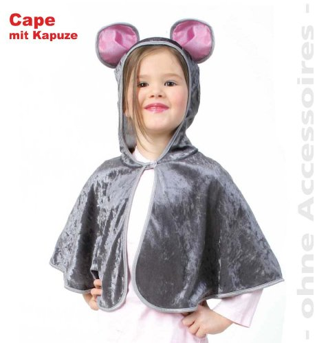 FASCHING 10044 Kinder-Kostüm Cape Maus Panne-Samt Umhang NEU/OVP: Größe: 098