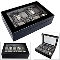 Aston of London® Limited Edition 10 Watch Wooden Display Case with Java Black Finish and Grey Velour Interior