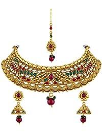 Asmitta Stunning Round Shape Gold Plated Choker Style Necklace Set With Mangtikka For Women