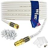 Câble d'extension par 1STec - Pour installer la TV numérique ou le haut débit Virgin Media 20 m blanc