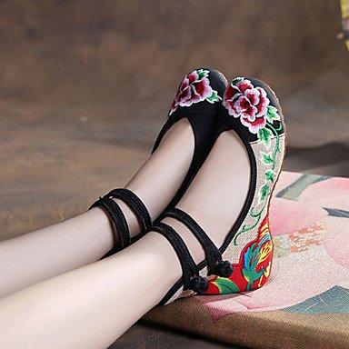 """Confortevole ed elegante piatto scarpe donna Appartamenti Primavera Estate Autunno Inverno Comfort """" espadrilles """" Tessuto outdoor casual tacco piatto fibbia Fiore nero rosso verde a piedi Green"""