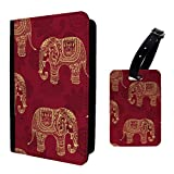 Elephants Indian Print Collage Luggage Tag & Passport Holder - S704
