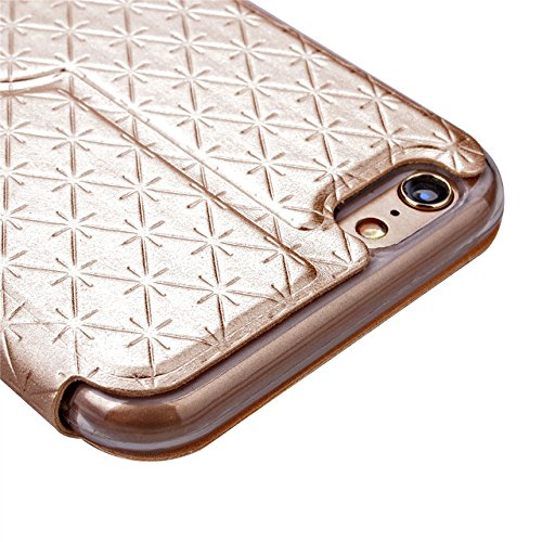 iPhone Case Cover Quadrat-Diamant-Gitter-Muster PU-lederner Fenster-Fall-weicher TPU Abdeckungs-Standplatz-Fall mit Karten-Schlitz für IPhone 6 6s Plus ( Color : White , Size : IPhone 6s Plus ) Gold