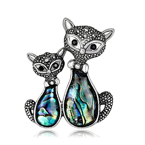 Lureme Vintage Abalone Shell avec strass Double Charmant Cats Broche Pin Animal Bijoux (br000070)