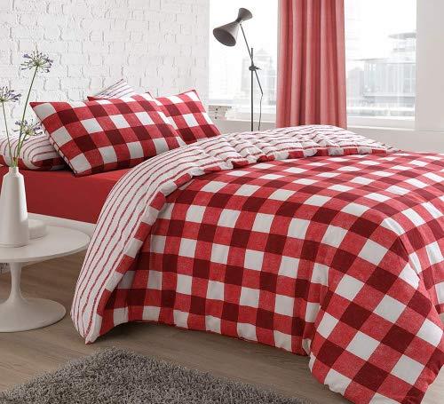 Juego de Funda nórdica y Funda de Almohada (algodón) - Diseño de Ajedrez color Rojo