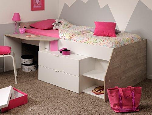 Hochbett Mika B 90x200cm weiß grau Kinderbett Kommode Schreibtisch Jugendzimmer Kinderzimmer