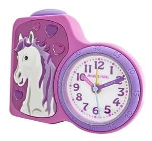 jacques farel kinderwecker m dchen pferd rosa pink ohne ticken mit licht und. Black Bedroom Furniture Sets. Home Design Ideas