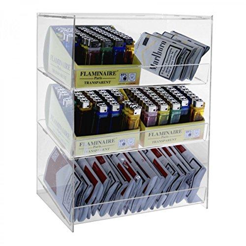Espositore porta accendini / porta tabacco in plexiglass trasparente a 3 ripiani