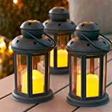 Lights4fun Lot de 3 Lanternes Gris avec Bougies...