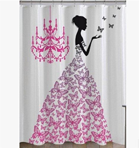 Stoff Vorhang für die Dusche von chengsan, Love Home Decor Country Hochzeit Geschenke für romantische Frau Frauen Artwork Prints Schmetterlinge Prinzessin Retro Parisienne Chic Mädchen Teens uns, schwarz weiß, Polyester-Mischgewebe, rosa / weiß, 72x72inch