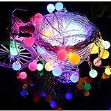 Wokee 10 LED Globe Lichterkette,2m Garten Lichter String Fairy LED batteriebetrieben für Weihnachten Balkon Terrasse Hochzeit Halloween,Wasserdicht IP44 (Mehrfarbig)