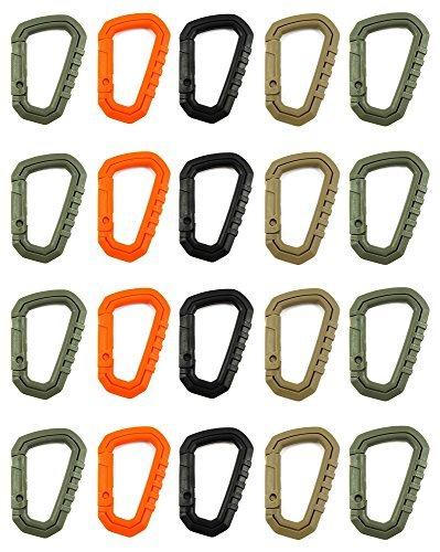 ZENDY plastique PVC ressort serrure en forme de D PVC verrouillage mousqueton porte-clés porte-clés porte-crochet pour la maison, RV, camping, pêche, randonnée, voyage et porte-clés, des couleurs assorties. (Pack20)