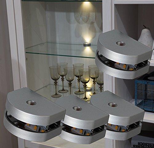 tenbeleuchtung 4-er Set Clip / Mod.2295-4 / Glasbodenbeleuchtung Vitrinenleuchte Schrankbeleuchtung warmweiß Komplettset ()