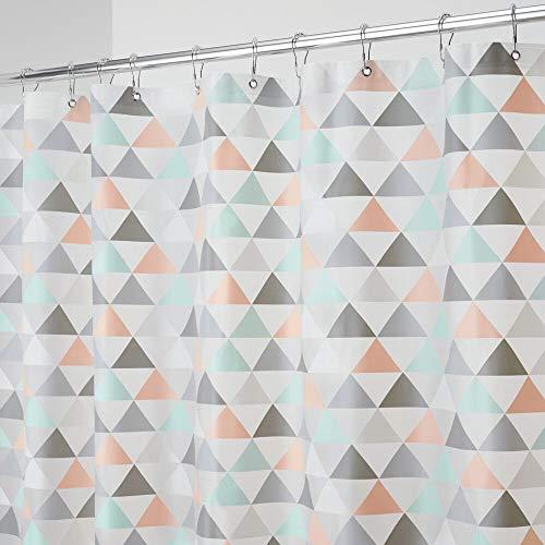 mDesign Duschvorhang mit Dreiecksmuster - ideales Badzubehör - langlebige Duschgardine - Koralle/Mint