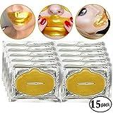 15 Stück Kristall 24 Karat Gold Bio Collagen Gel Lip Pad Maske für feuchtigkeitsspendende, Anti-Falten, Anti-Aging, nährende & feuchtigkeitsspendende Lippen