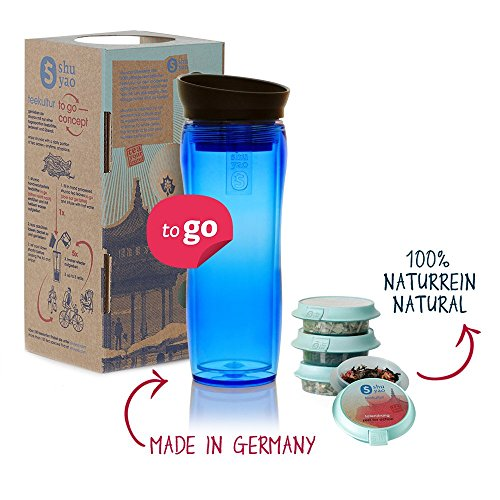 Shuyao Starter Set Tea to Go Thermobecher blau (360ml) mit Integriertem Teesieb + 3X naturreiner...