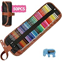 A-SZCXTOP 50PCS Art Colourings Penciles with Pencil Pouch & Pencil Sharpener Assorted Colours for Adult Coloring Books Drawing Writing Sketching Doodling