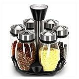 Gewürz-Gläser Würze-Box-Rack-Container transparente Farbe 6 kleine Flaschen mit drehbarer Abdeckung der Sockel ist auch drehbar bessere Abdichtung und so weiter aus Glas