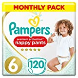 Pampers Premium Protection Nappy Pants Size 6, 120 Nappy Pants, 15 kg+, Monthly Saving Pack, Gentle Touch On Skin In Easy-On Nappy Pants