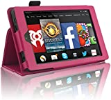 """InventCase Amazon Fire HD 6 (6"""" HD Display - 4th Generation) Tablet 2014 Smart Multi-Functional PU Leather 2-Fold Case Cover with Sleep Wake Function - Hot Pink"""