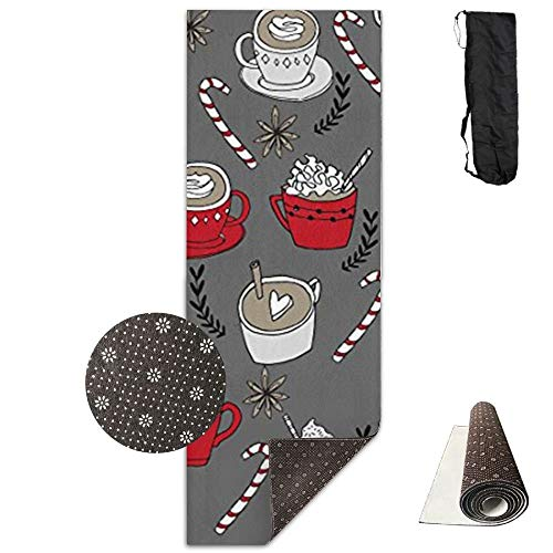 HiExotic Matte Yoga Mat Eco-Friendly Anti Slip Yoga Mat Cute Hot Chocolate Christmas Peppermint Latte Yoga Towel Carrying Strap & Bag Non-Toxic Printedfor Exercise,Yoga and Pilates 71 X 24 Inch