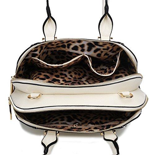 Miss Lulu - borsa da donna, effetto pelle, per spalla Multicolore (beige)