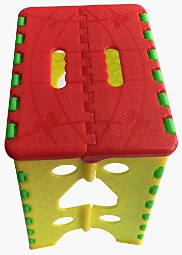 Geartist in plastica colori misti Tall robusto Sgabello pieghevole 15cm Altezza Fino a 300kg pieghevole grande passo pesante dovere, lavoro campeggio sedia., Red