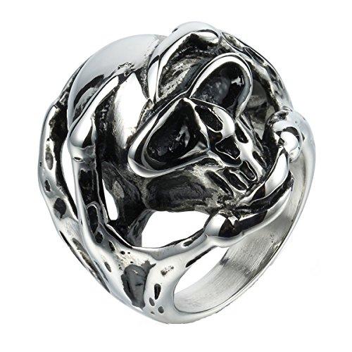 tahl Gothic Biker Halloween Schädel Ring Dragon Claw Silber Schwarz Größe 65 (Billig Halloween Skelette)
