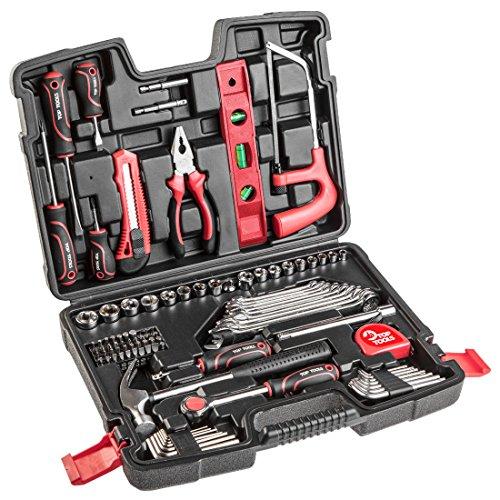 100 tlg Werkzeugkoffer set Werkzeug Satz Stecknuss Ratschenkasten Knarrenkasten Werkzeugbox Werkzeugkiste