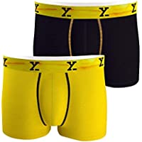 XYXX Men's Micro Modal Trunk (Black and Yellow, Medium) - Pack of 2