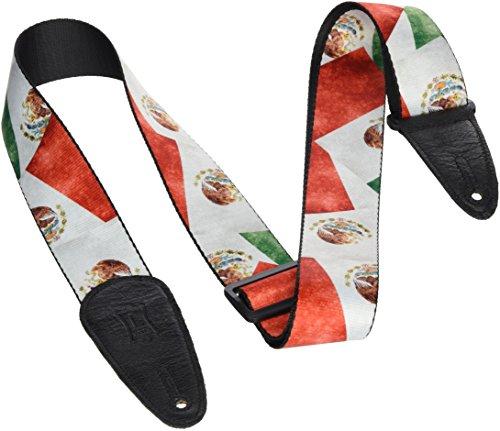 Levy's Leathers Gitarrengurt aus Polyester, 5,1 cm breit, Sublimationsdruck, Distressed Flag Design Mexiko 0 0