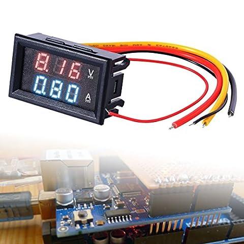 JZK 0.28 DC 0-100V 10A mini digital voltmeter ammeter volt amp meter voltanzeige strom spannungsmessung tester ampèremeter voltage gauge für auto motorrad autobatterie, panel LED dual display rot + blau