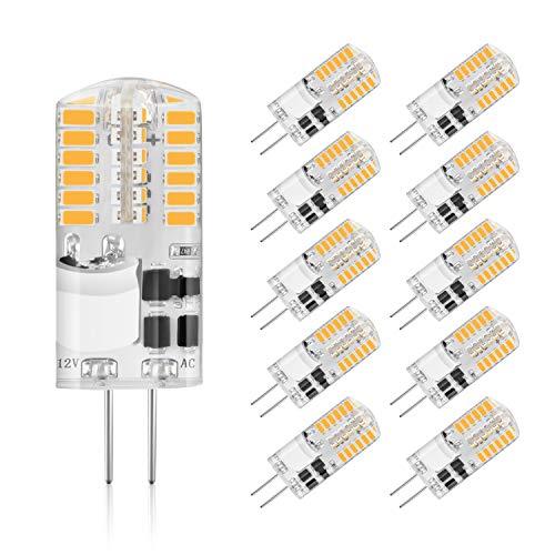 Preisvergleich Produktbild Creyer 10er Pack G4 LED Lampen, Kein Flackern, 210lm, 2.5W Ersetzt 20W Halogenlampen, Warmweiß, Nicht Dimmbar, AC/DC12V, G4 LED Leuchtmittel Birne