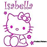 Hello Kitty Blumen mit Ihrem Wunsch-Namen - 60 cm x 40 cm, personalisierbar, Pink name, Kinderzimmer, Kinder, Kinderzimmer, Wandtattoo, Vinyl, Fenster und Auto-Aufkleber Wand Windows-Art ThatVinylPlace Wandtattoo,