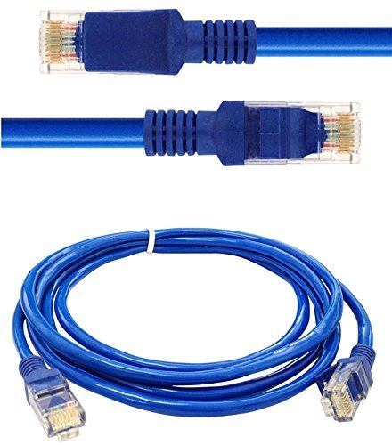 SCHOFIC CAT 5 [1 Meter] Shielded RJ45 Ethernet Patch Network Cable Professional Gold Plated Plug STP Wires Cat 5 Networking Cable Premium/ Patch/ Modem/ Router/ LAN / ADSL - BLUE  available at amazon for Rs.175