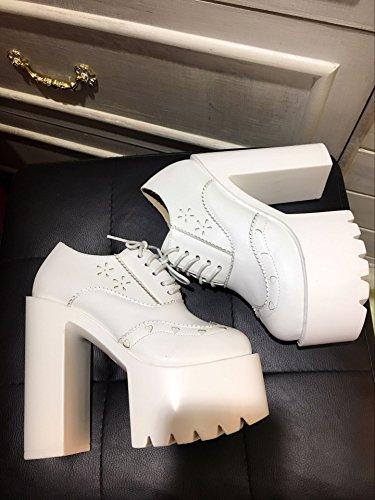 LvYuan Tacchi delle donne / Pelle di brevetto / Ufficio & carriera / tacco tallone della piattaforma / moda / scarpe da salto a piedi White