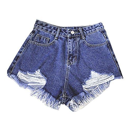 Femmes Taille Haute Déchirés Court Pantalon Jeans Denim Shorts Bleu Gris
